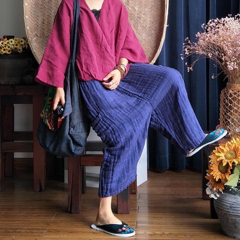 Elástica Color Johnature Bolsillos Vintage Algodón Sólido Nueva Doble Cintura Pantalones 2019 verde Mujeres Azul Lino Otoño De Sueltos FxnFvwgCq4