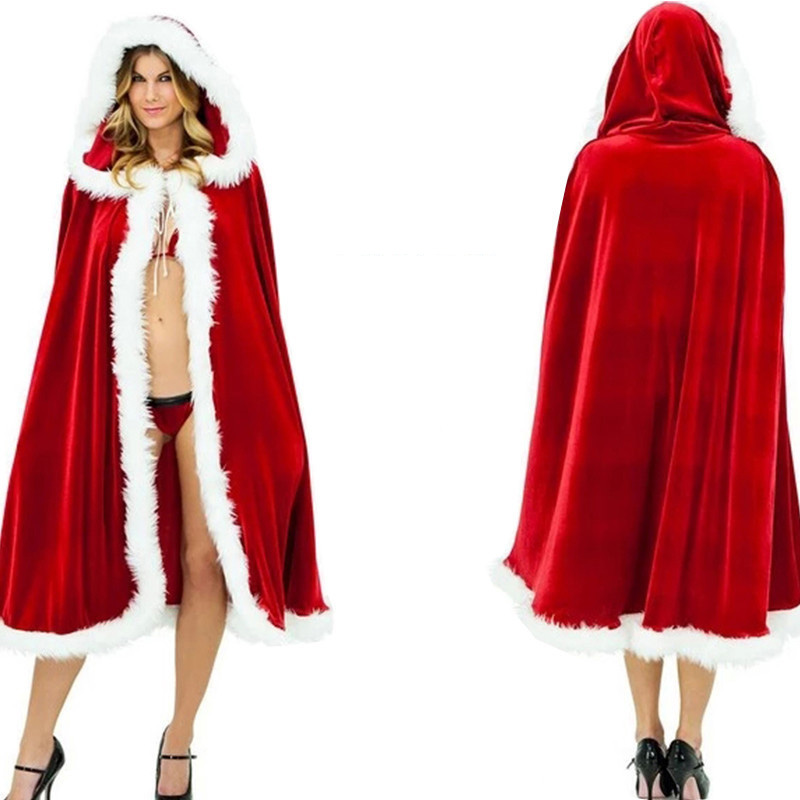 Christmas cosplay Mrs Santa Claus Velvet Fur Cloak Red Cloak Red Riding Hood Christmas Cloak Costume Hooded Cloak KID's Party