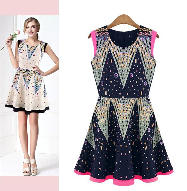 Vestido, mulheres estilo europa famoso impressão verão sweety WJ577