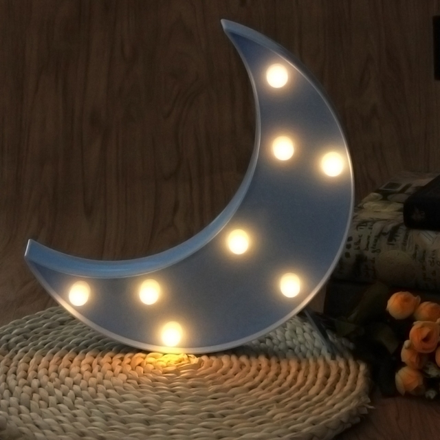 3D Marquee Moon Table Lamp 8 LED Battery Operated Night Light Childrenu0027s  Room Decor