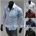 2015 New Arrival Summer Clothing Pure Color Bag Buckles Long Sleeve Shirt Fashion Casual Boy Social Business Camisa Shirt