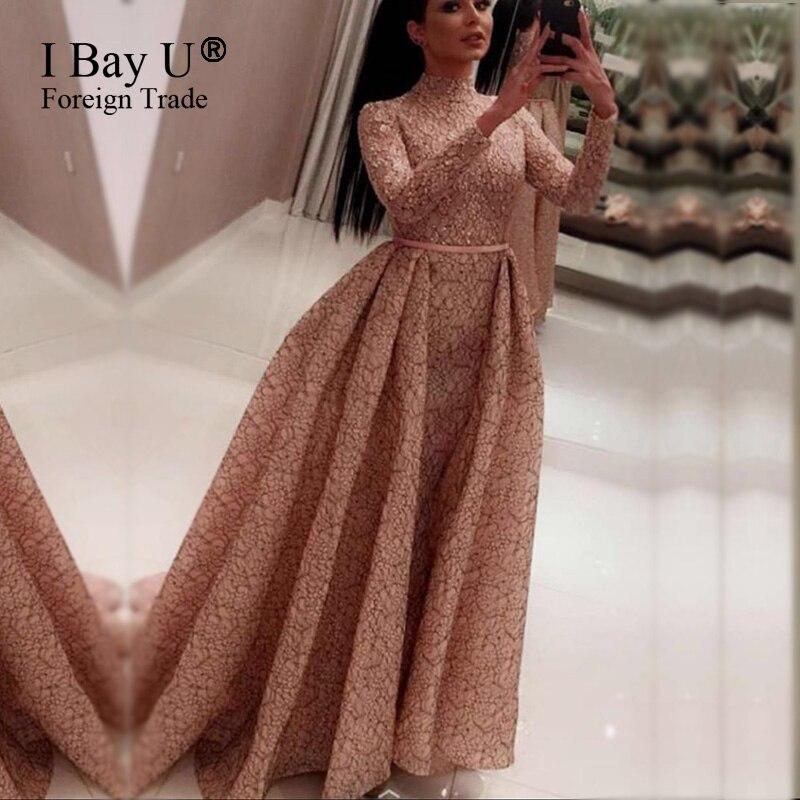 elegant vintage pink lace evening dresses engagement girl arabic evening dress long sleeve. Black Bedroom Furniture Sets. Home Design Ideas