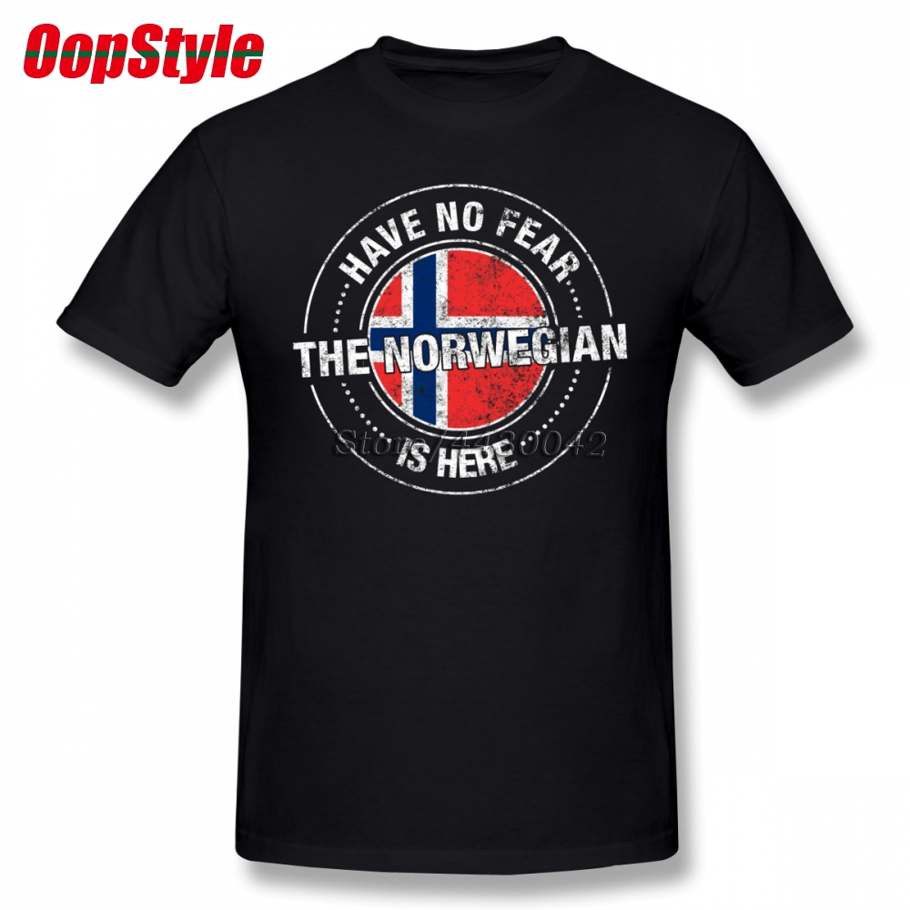 Have No Fear The Norwegian Is Here T Shirt Short Sleeve Custom Men's T-shirts Top O-neck Cotton XXXL Norway Flag Funny T-shirts