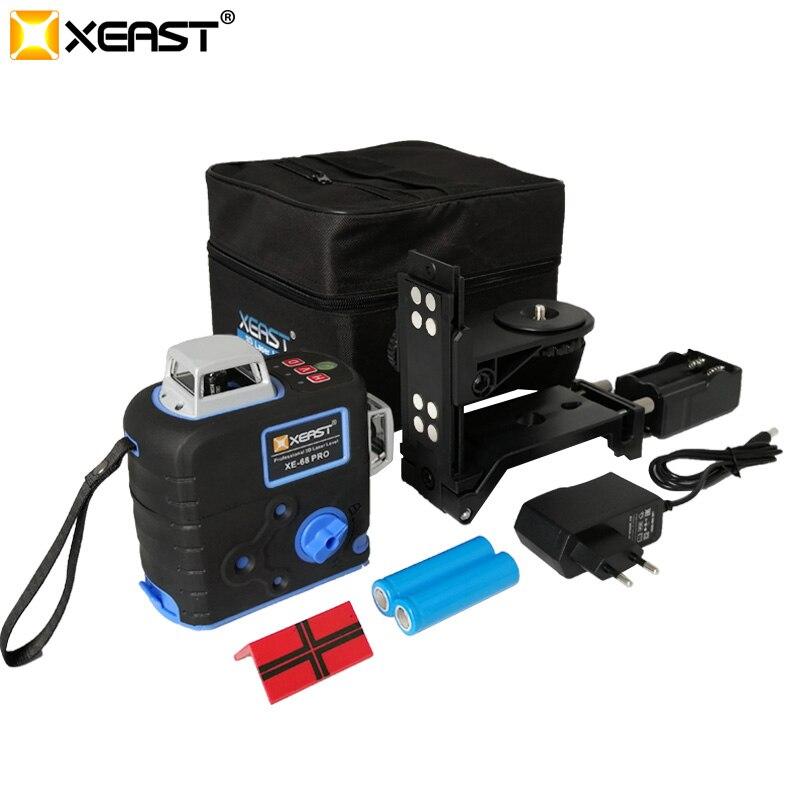 Profesjonalny XE-68R XEAST Pro poziom lasera 12 linii poziom 3D 360 poziome i pionowe krzyż Super mocny poziomica z czerwonym laserem