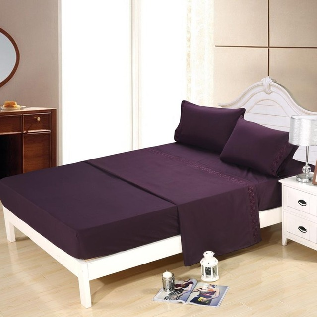 Embroidered Super Soft Bed Sheet Set 4Pc 100% Polyester PURPLE Color Queen  Size Bedding Set