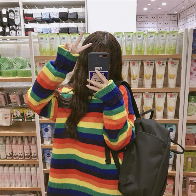 Women's Clothing Cute Kawaii Loose Colorblock Striped Rainbow Sweater Lady Harajuku Ulzzang Sweaters For Women Pullover Knitted