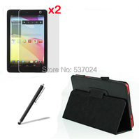 4in1 New Luxury Folio Stand Leather Case Cover 2x Clear Screen Protector Films Stylus For Dell