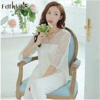 Brand Spring Summer Cotton Women S Pajamas Set White Lace Sleepwear Pijamas Pyjamas Mujer Lady Casual