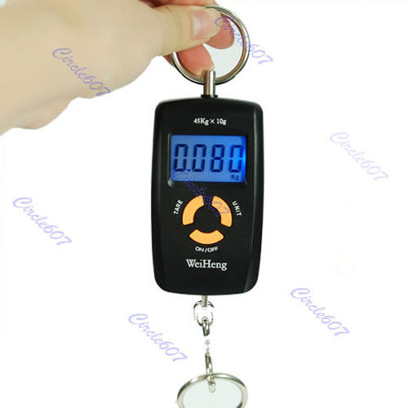 OOTDTY 1 Pc 10g/45Kg Pocket Hanging LCD Screen Display Digital Scale Luggage Fishing Weight Stainless Steel Hanging Hook