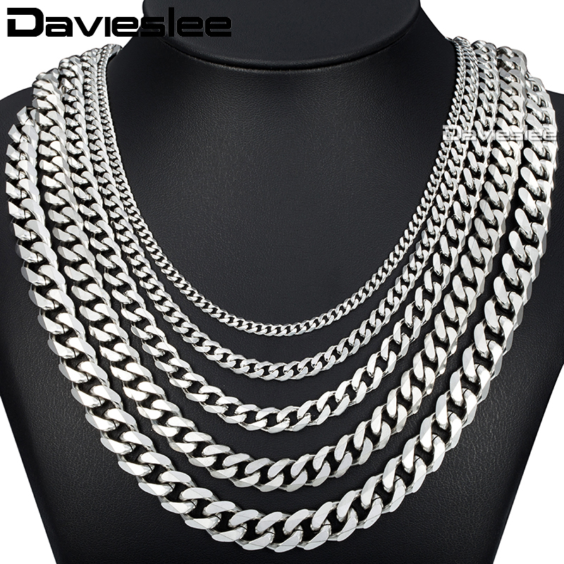 Davieslee 60cm Mens Chain Silver Color Stainless Steel
