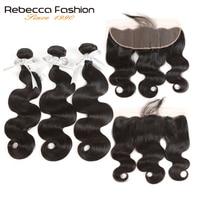 Rebecca Brazilian Body Wave 3 Bundles Human Hair Bundles With Frontal Closure 13x4 Lace Frontal Closure