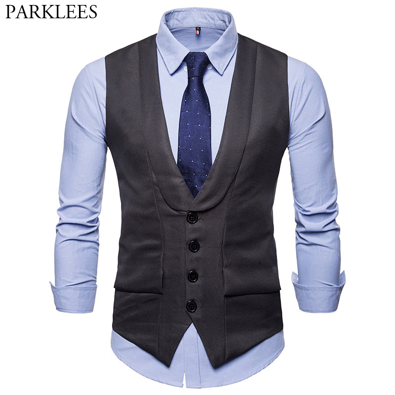 Men's Formal Business Dress Suit Vest  2018 Classic Button Down Sleeveless Waistcoat Mens Brand Slim Fit Wedding Tuxedo Vests