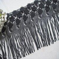 48 cm melk zijde bloem borduren kant fringe trim, zachte en elegante motief kant stof trim op jurk, wit/Zwart