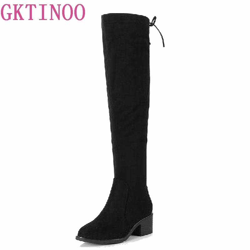 Fashion Zipper Flock Black Over Knee High Boots Women Autumn Sexy High Heels Platform Shoes Woman