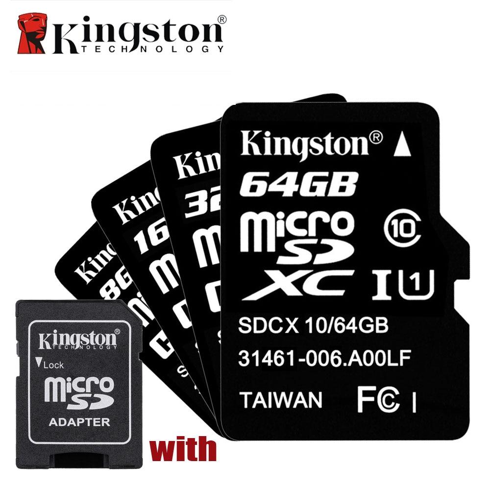 Prix pour 5 pcs kingston classe 10 carte micro sd 8 gb 16 gb 32 gb 64 gb mémoire carte C10 Microsd 16 gb Carte Mémoire 32 gb 64 gb avec la Carte adaptateur