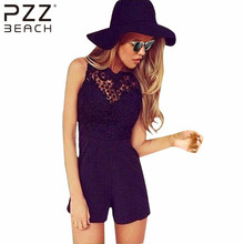 2016 New Arrival Tank Slim Women s sexy bodycon jumpsuit Lace Patchwork playsuit Sleeveless shorts coveralls