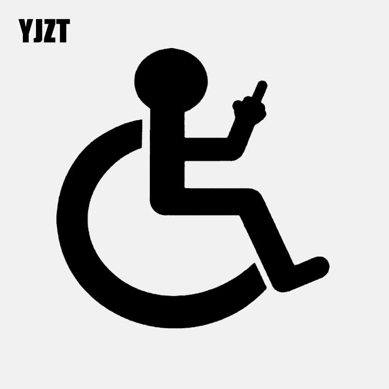 YJZT 12.9CM*13.2CM Cartoon Wheelchair Finger Up Car Sticker Vinyl Decal Black/Silver C3-1989