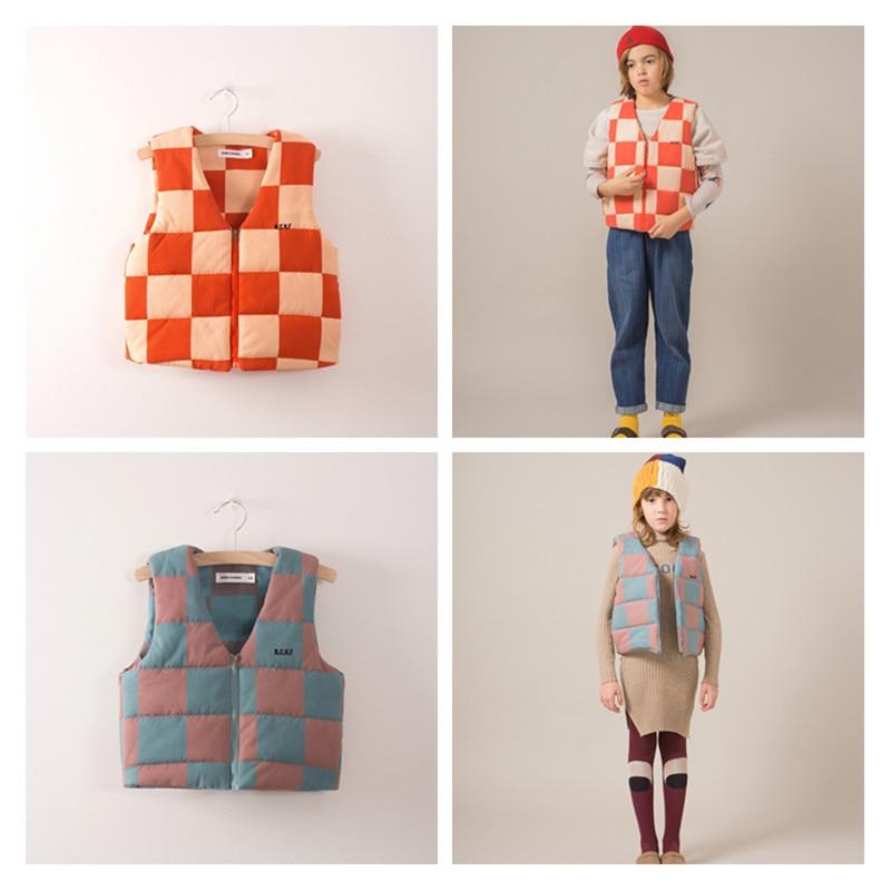 PRE-order Waistcoat November bobo blue and red plaid coat for baby boys girls kids