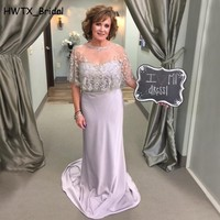 Silver Long Mother Of The Bride Dresses With Cape Vintage Lace Long Sheath Prom Dress 2018 New Women Formal Gowns Custom Made