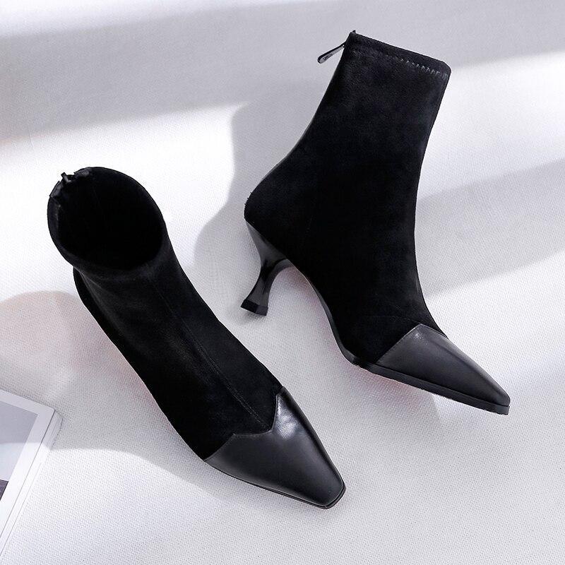 ... Alti Punta Ufficio Lampo Nero Scarpe Toe In Retro Stivali black Pelle  Chiusura brown Quadrata Tacchi ... cc68a95556d