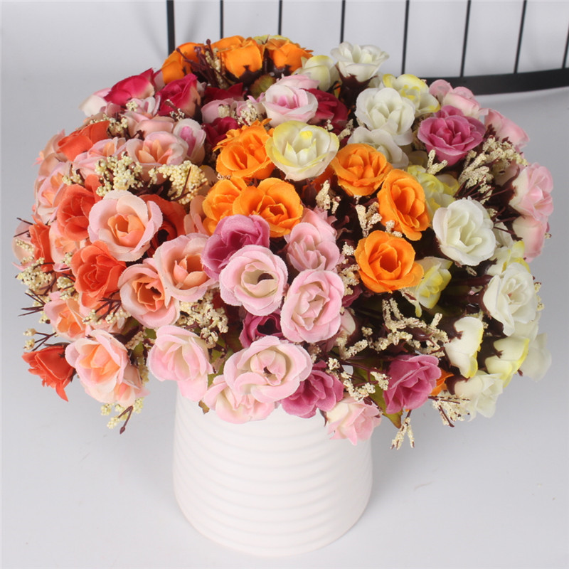 Autumn 15 Heads Silk Roses Bract Artificial Flower For Wedding And Christmas Decor 21