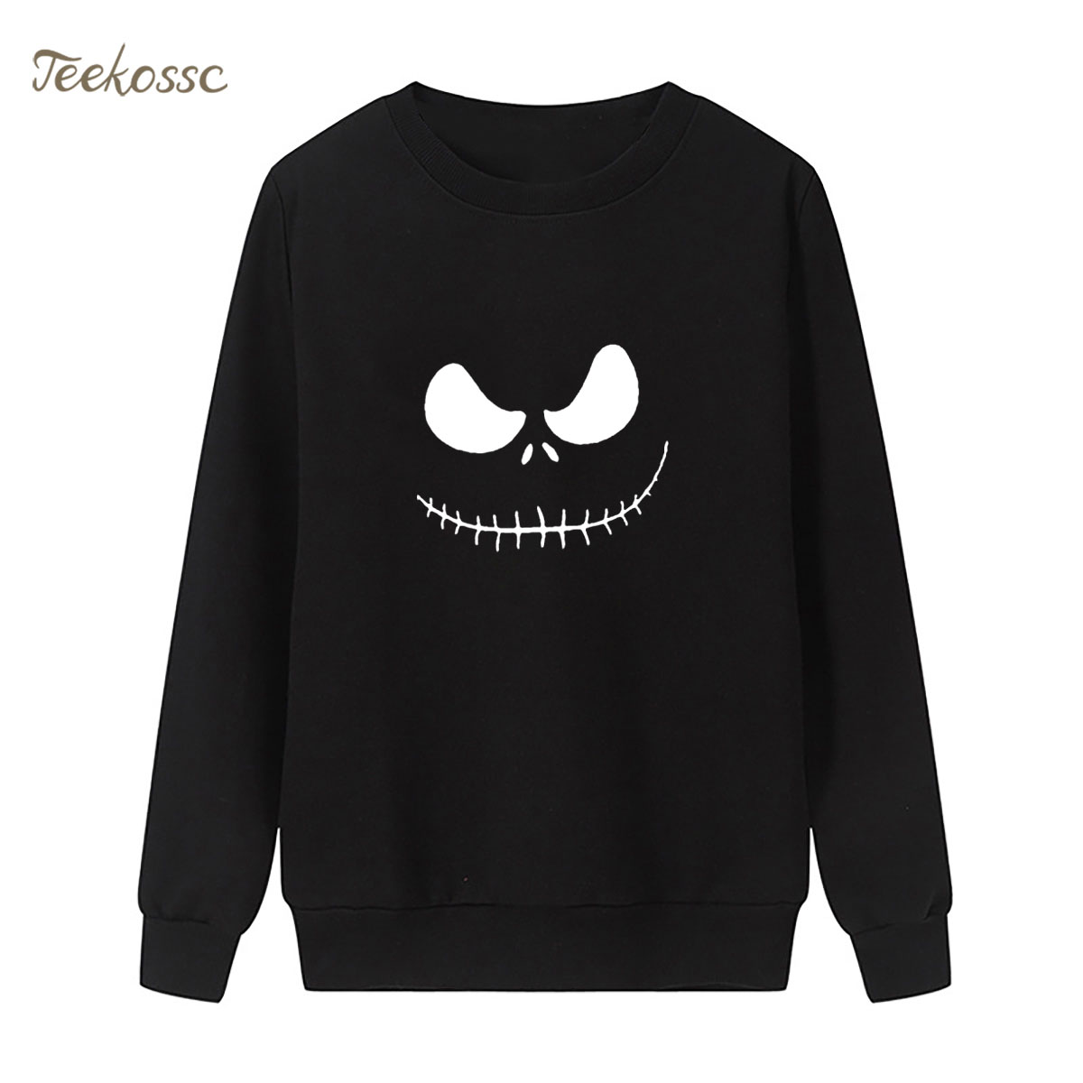Jack Skellington Sweatshirt Black WhitePrint Hoodie 2018 New Winter Autumn Women Lasdies Pullover Loose Fleece Funny Streetwear