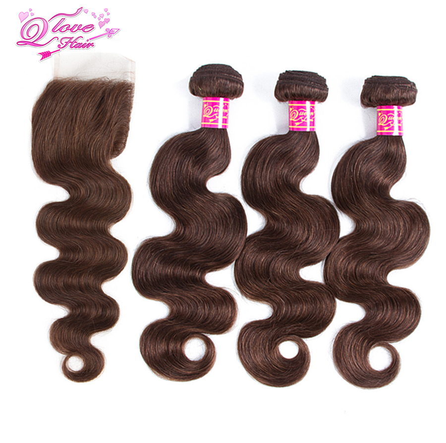 Queen Love Hair Pre-Coloed 100% Human Hair 3 Bundles With Closure Monglian Body Wave Hair Non Remy #4 Color With Closure