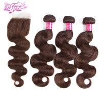 Queen Love Hair Pre Coloed 100 Human Hair 3 Bundles With Closure Monglian Body Wave Hair