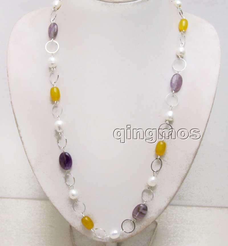Big 10-11mm Natural White Rice pearl and Purple crystal and Natural Yellow Stone with 14mm Metal Round 32'' Necklace-nec6374
