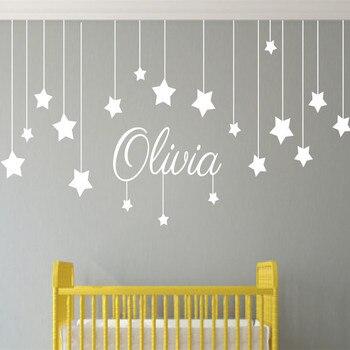 Nombre personalizado a las estrellas y a la Luna para niños pared arte bebé vivero decoración de pared pegatinas niños de Kindergarten para dormitorio niño T170307