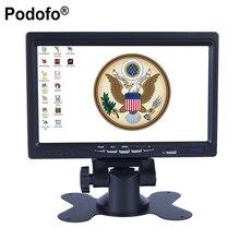 """Podofo 7 """"HD Mini Computadora Del LCD y Pantalla de TV de Vigilancia de Seguridad CCTV Monitor de Pantalla de Visión Trasera, HDMI/VGA/Video/Audio"""