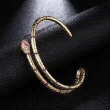 Joyas de moda serpiente brazaletes y brazaletes que abren pulseras de Color dorado para mujeres joyería Punk ZK40
