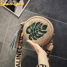 2019 New Womens bag Pineapple Embroidery Round Bag Korean Simple Shoulder Female Straw Handbag Travel