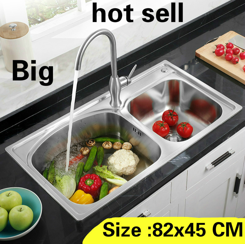 Free Shipping Household Kitchen Double Groove Sink Standard 304 Stainless Steel Standard Wash The Dishes 820x450 MM