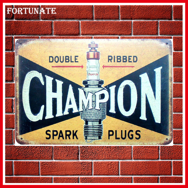 New Double Ribbed Champion Vintage Metal Signs Home Decor Vintage Tin Signs  Pub Vintage Decorative Plates
