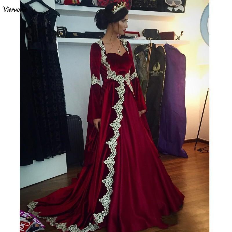 2019 Burgundy Velvet Arabic Dubai Long Sleeves Kaftan Evening Dresses With Appliques Long Vintage Muslim Party Gowns