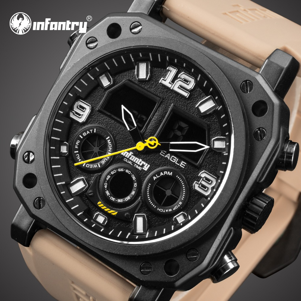 INFANTRY Mens Watches Top Brand Luxury Analog Digital Military Watch Men Square Big Tactical Watches for Men Relogio Masculino infantry mens watches top brand luxury chronograph military watch men luminous analog digital watches for men relogio masculino