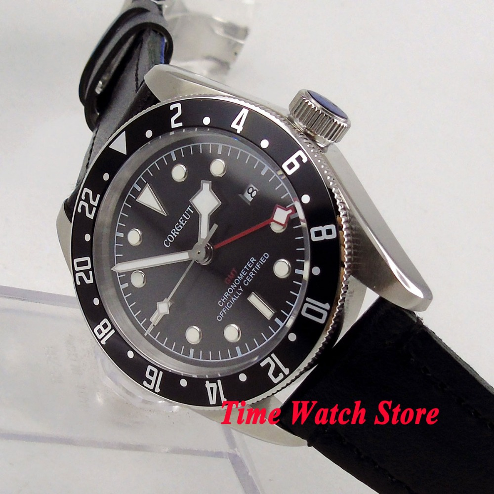 Solid 41mm Corgeut GMT men's watch luminous snow hands black Bezel sapphire glass Automatic wrist watch dive watch cor116 цена и фото