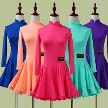 2020 Girl Latin Dance Dress 5color Red/Green/Blue Child/Kid Fitness Children Samba Chacha Rumba Girl Showing Dancing Skirts 2034