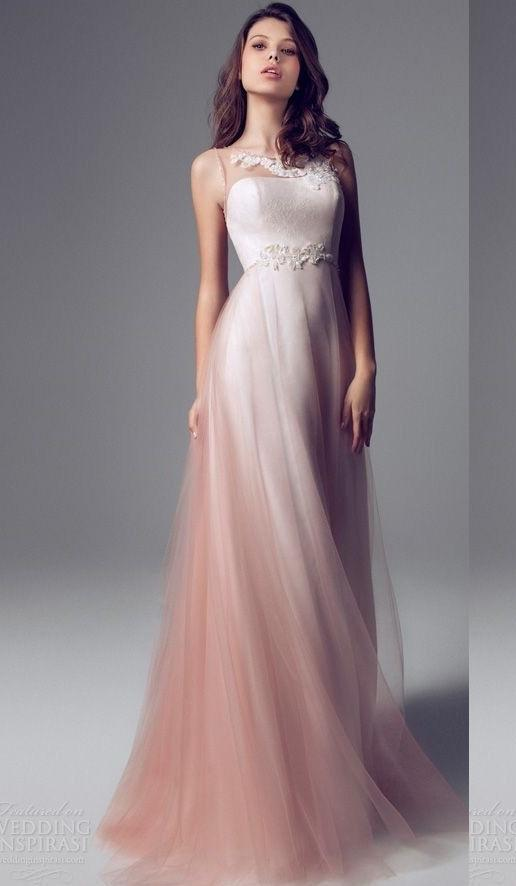 2017 sheer neck strapless pink ombre prom dresses long for Dresses for wedding party