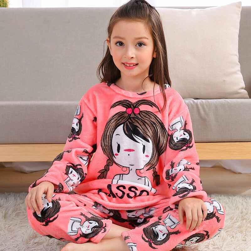 03b108e0b2 Winter Children Fleece Pajamas Warm Flannel Sleepwear Girls Loungewear  Coral Fleece Kids pijamas Homewear Boys Pyjama