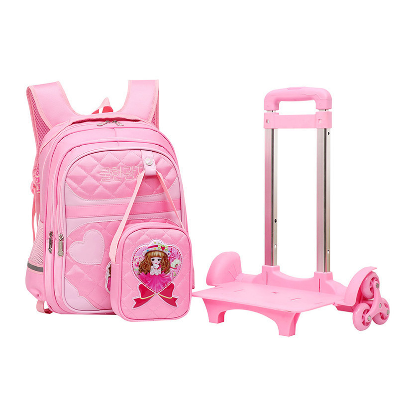 Brand Trolley School Backpack For Children Wheeled Luggage Bags For grils Kids Wheel Schoolbag Student Detachable Backpacks