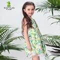 KAMIWA 2016 Verano Floral Print Mesh Partido de La Princesa Del Niño de La Flor de los Bebés Vestidos de La Rodilla-longitud de la ropa de Niños Ropa Niños