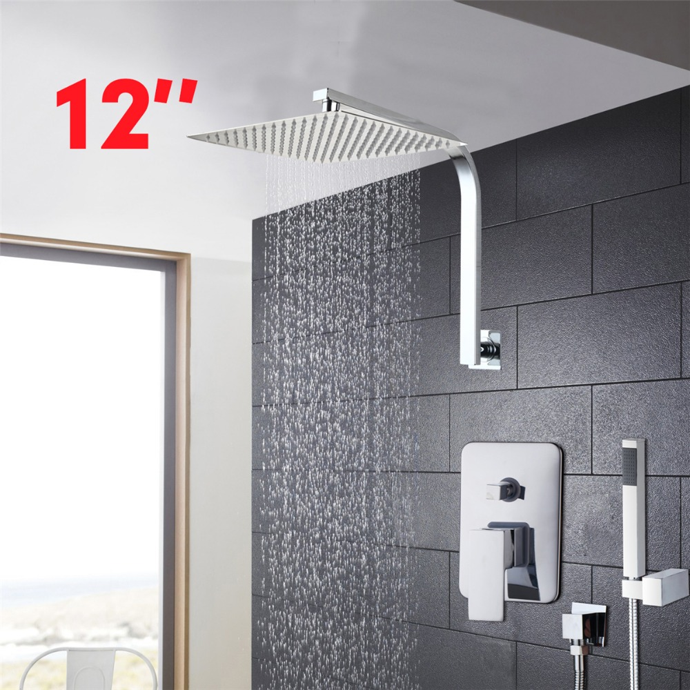12 bathroom shower faucet set ultra thin panel wall mounted rainfall head mixer tap hand shower. Black Bedroom Furniture Sets. Home Design Ideas