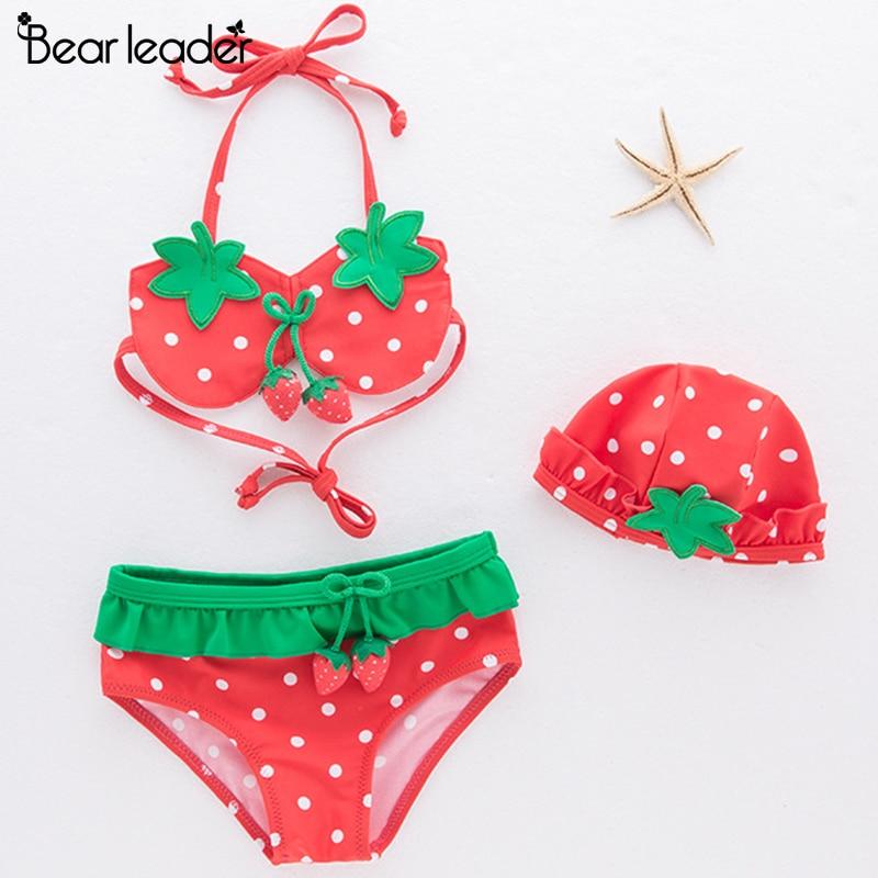 Ayı lideri Grls giyim Sert çilek mayo Bikini çocuklar moda kız Toddler yüzmek seti çocuk mayo çocuk giyim için