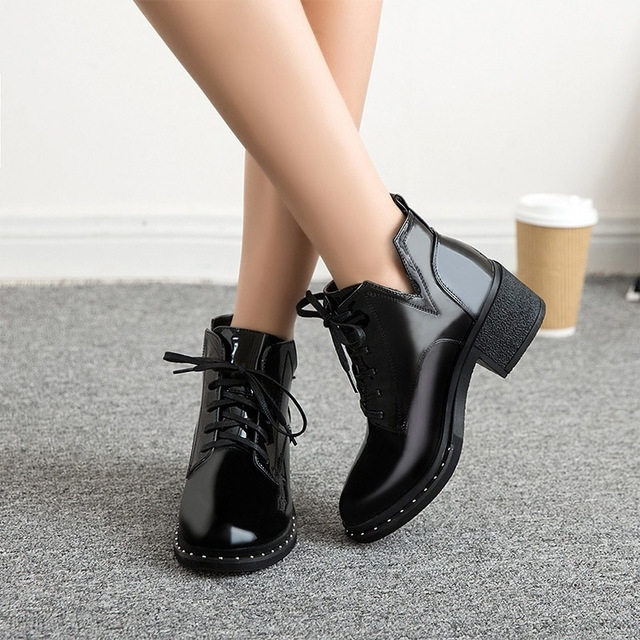 bdf9666bd3d Women Chunky Heels Platform Black Ankle Boots Fashion Lace Up Ladies Shoes  Rivet Patent Leather British Footwear For Female
