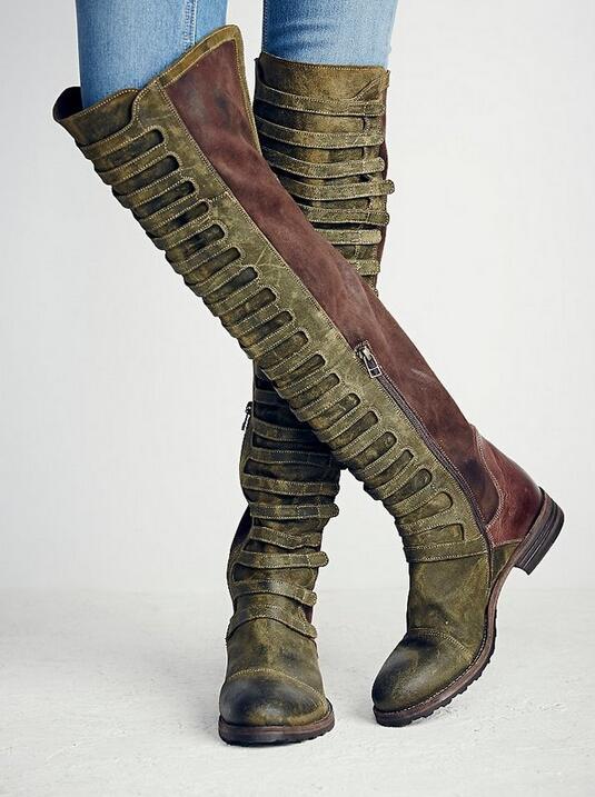 Новый европейский Стиль проблемных замшевые кожаные ботинки Для женщин сапоги до колена мотоциклетные ботинки «мартинс» Винтаж Обувь