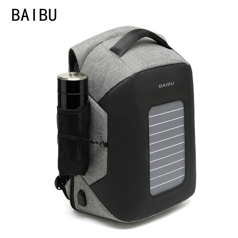 BAIBU Solar de carga usb multifunción mochila 15,6 ordenador portátil de mochila bolsa impermeable para hombres de viaje mochila anti-robo