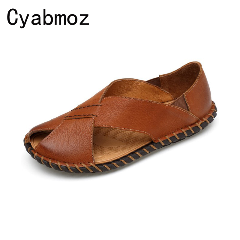 New Arrival Gladiator Beach Sandals for Men,Handmade Genuine Leather Summer Shoes Male,Retro Sewing Classics Slippers for Men