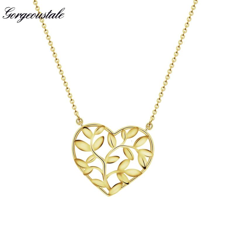 ჱMagnífico Cuento de Oro Color de la hoja Collar Mujeres Cadena de ...